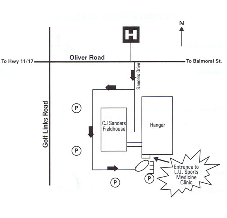 Directions to LU Sports Medicine Clinic Map